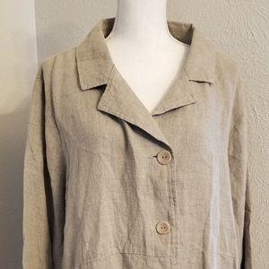Flax Taupe Linen Jacket Sz Large